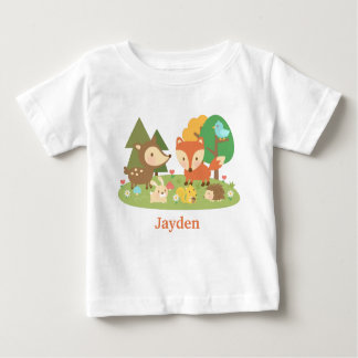 Cute Colourful Woodland Animal For Babies Baby T-Shirt