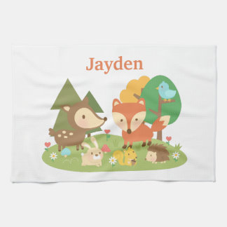 Cute Colourful Woodland Animal For Kids Kitchen Towels