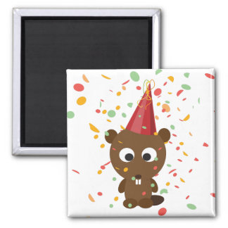 Cute Confetti Party Beaver Magnet