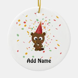 Cute Confetti Party Beaver Round Ceramic Decoration