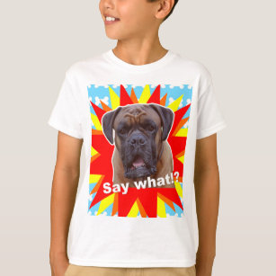 77cdc98a0e Cute Confused Boxer Dog Breed Bones Say What!  T-Shirt