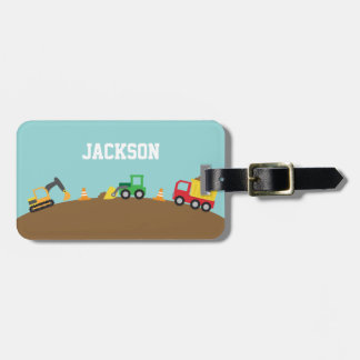 Cute Construction Vehicles For Boys Bag Tag