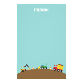 Cute Construction Vehicles For Boys Stationery