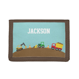 Cute Construction Vehicles For Boys Tri-fold Wallets