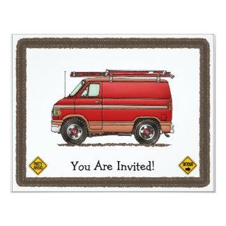 "Cute Contractor Van 4.25"" X 5.5"" Invitation Card"
