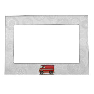 Cute Contractor Van Picture Frame Magnets