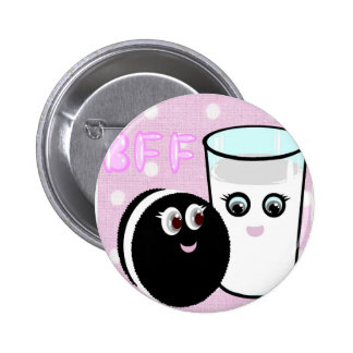CUTE  COOKIE AND MILK  BFF 6 CM ROUND BADGE