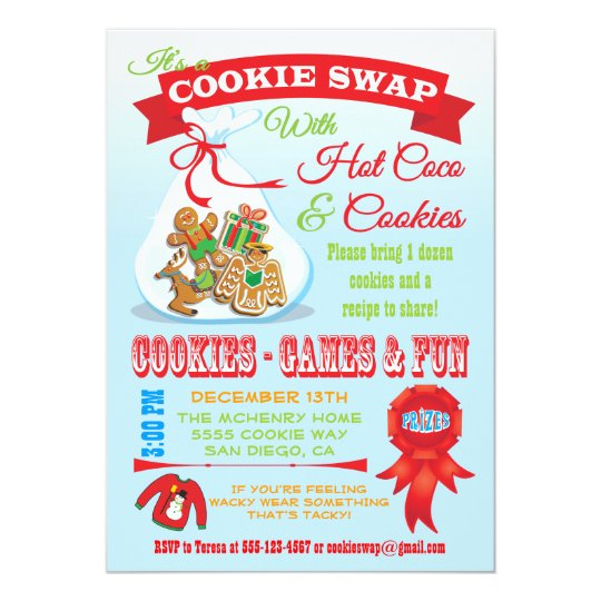 Cute Cookie Exchange Swap Invitation