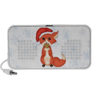 Cute Cookie Fox Wearing A Santa Hat Portable Speakers