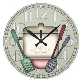 Cute Cooking Pot And Kitchen Utensils Custom Clock