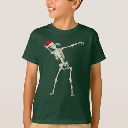 Cute Cool Christmas Dabbing Punk Skeleton Funny T-Shirt