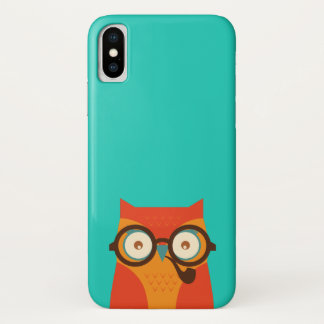 Cute Cool Funny Retro Hipster Owl iPhone X Case