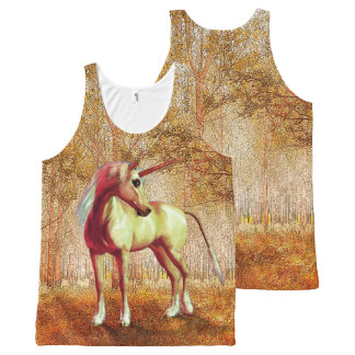 Cute Cool Pink Standing Unicorn Symbol Of Purity All-Over Print Tank Top