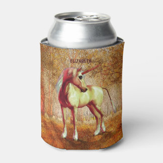Cute Cool Pink Standing Unicorn Symbol Of Purity Can Cooler
