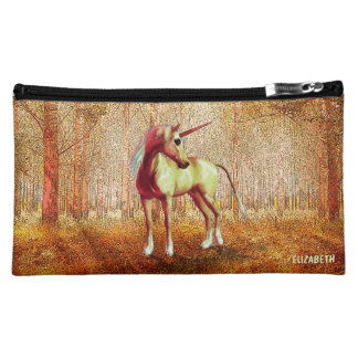 Cute Cool Pink Standing Unicorn Symbol Of Purity Cosmetic Bags
