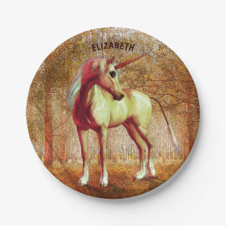Cute Cool Pink Standing Unicorn Symbol Of Purity Paper Plate