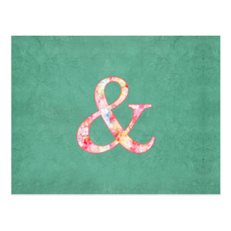 Cute Cool Pink Watercolor Ampersand on Teal Postcard