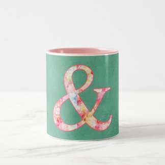 Cute Cool Pink Watercolor Ampersand on Teal Two-Tone Coffee Mug