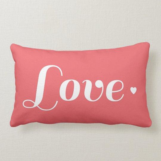 Cute Coral Love Heart Lumbar Cushion