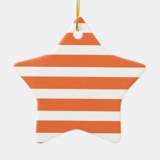 Cute Coral Orange and White Stripes, Striped Ceramic Star Decoration
