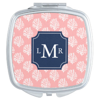 Cute Coral Pattern and Blue Monogram Makeup Mirror