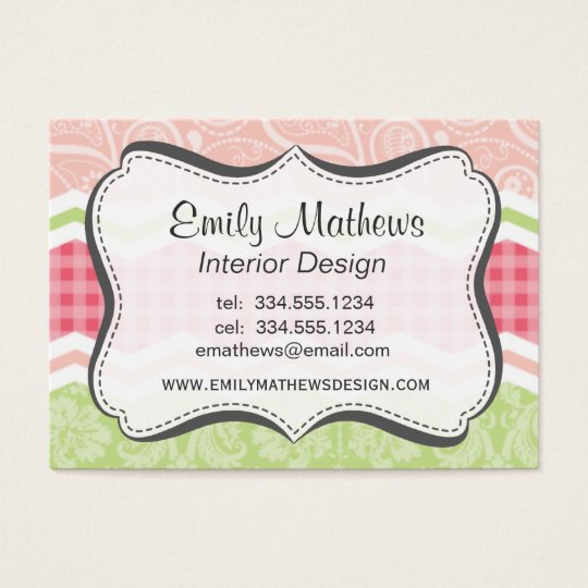 Cute Coral Pink and Light Green Patterns Business