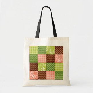 Cute Coral Pink, Green, and Brown Pattern Tote Bag