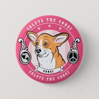 Cute Corgi Button Pink