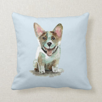 Cute corgi dog puppy watercolor art cushion