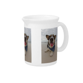 Cute Corgi with Tongue Out Pitcher