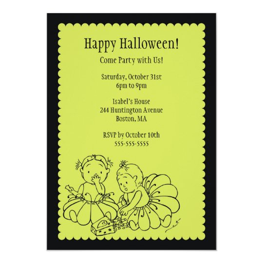 Cute Costume Girls Halloween Party Invitations
