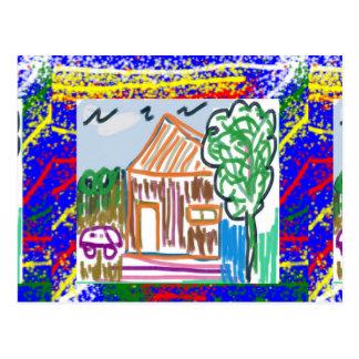 CUTE COTTAGE : Sweet Home KIDDISH Art FUN Postcard