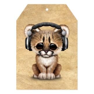 Cute Cougar Cub Dj Wearing Headphones 13 Cm X 18 Cm Invitation Card