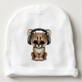 Cute Cougar Cub Dj Wearing Headphones Baby Beanie