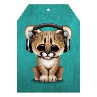 Cute Cougar Cub Dj Wearing Headphones on Blue 13 Cm X 18 Cm Invitation Card