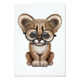 Cute Cougar Cub Wearing Eye Glasses 3.5x5 Paper Invitation Card