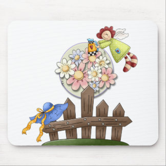 Cute Country Angel Watering Flowers Mouse Mat