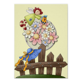 Cute Country Angel Watering Flowers Poster