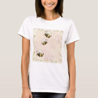 Cute Country Bees and Pink Roses T-Shirt