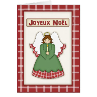 Cute country christmas angel in french language greeting card