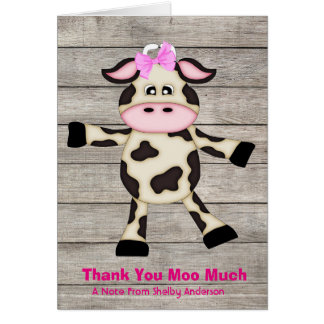 Cute Country Dancing Girl Cow Thank You Note Card