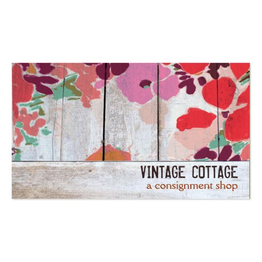 Cute Country Floral Wood Consignment Boutique Business Card Templates