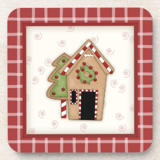 Cute Country Gingerbread House with Red Plaid Beverage Coasters