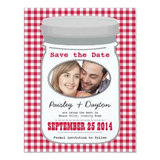 Cute Country Gingham Mason Jar Save the Date 11 Cm X 14 Cm Invitation Card