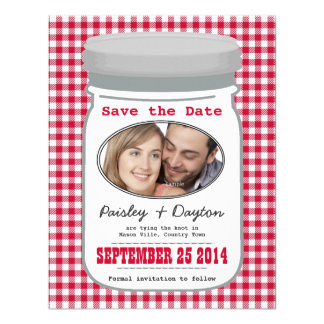 Cute Country Gingham Mason Jar Save the Date Announcements