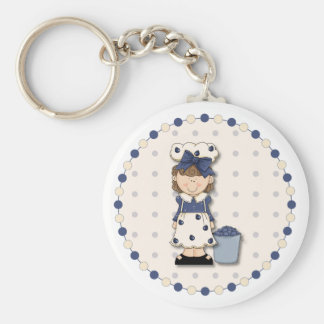 Cute country girl + bucket filled with blueberries basic round button key ring