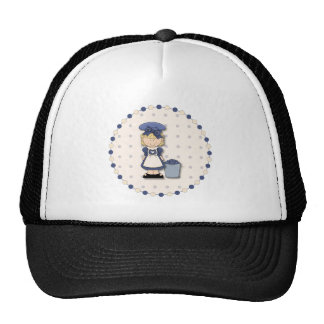 Cute country girl + bucket filled with blueberries trucker hat