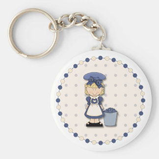 Cute country girl + bucket filled with blueberries key chains
