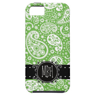 Cute Country Green Paisley with Personalization iPhone 5 Covers