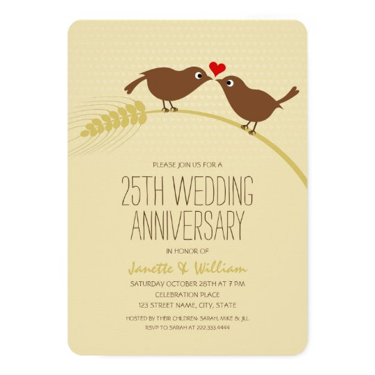 Cute Country Love Birds 25th Wedding Anniversary Card